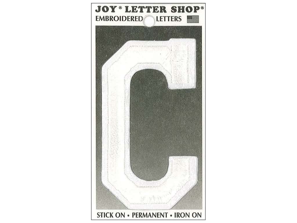 "Joy Lettershop Iron-On Embroidered Letter ""C"" 3 in. White"
