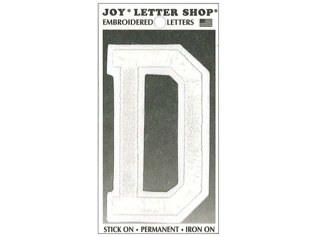 "Joy Lettershop Iron-On Embroidered Letter ""D"" 3 in. White"