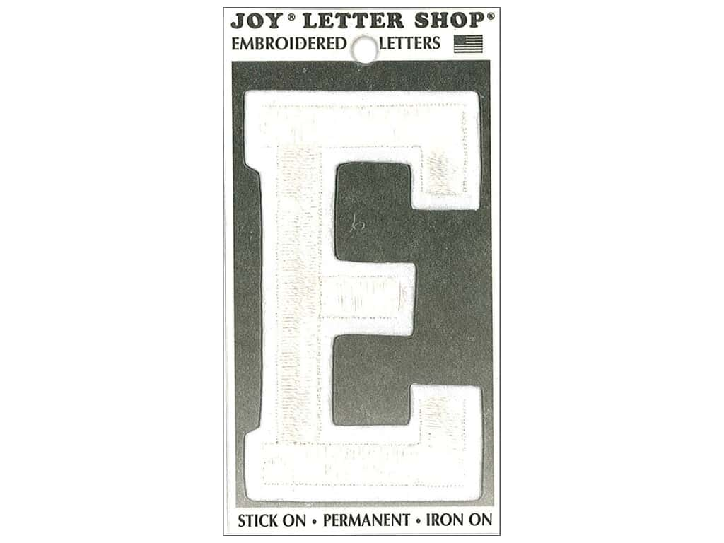 """Joy Lettershop Iron-On Embroidered Letter """"E"""" 3 in. White"""