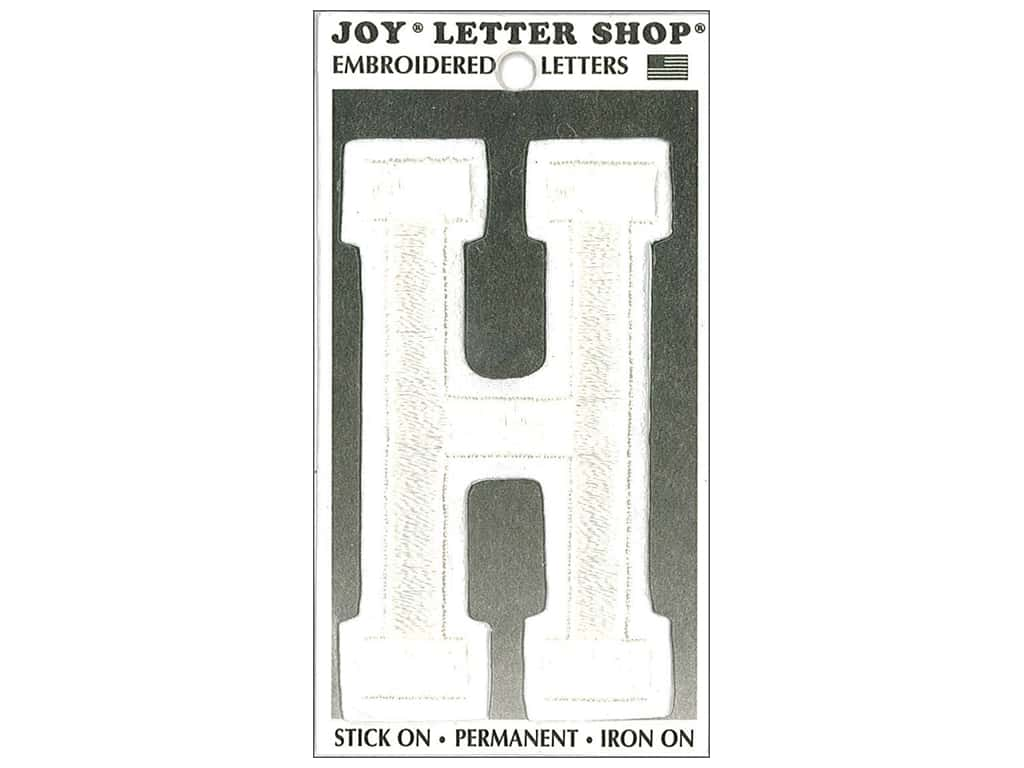 "Joy Lettershop Iron-On Embroidered Letter ""H"" 3 in. White"