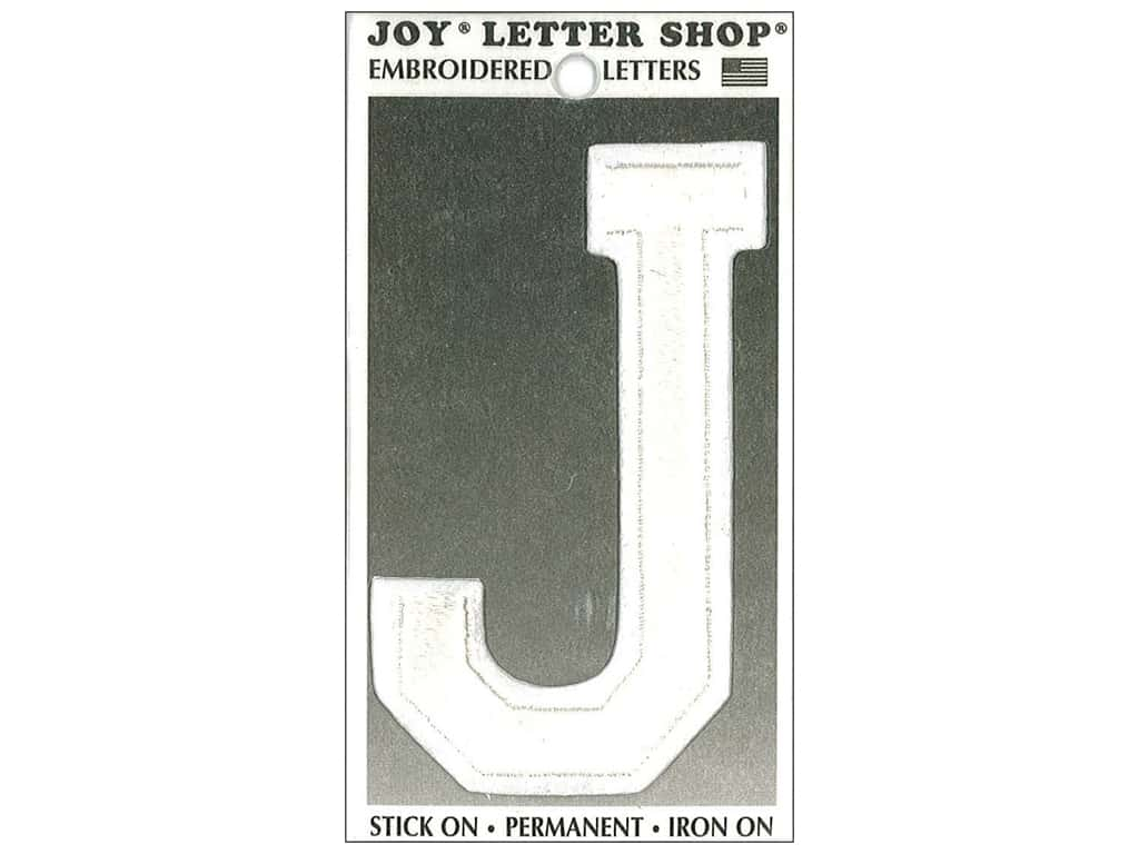 """Joy Lettershop Iron-On Embroidered Letter """"J"""" 3 in. White"""