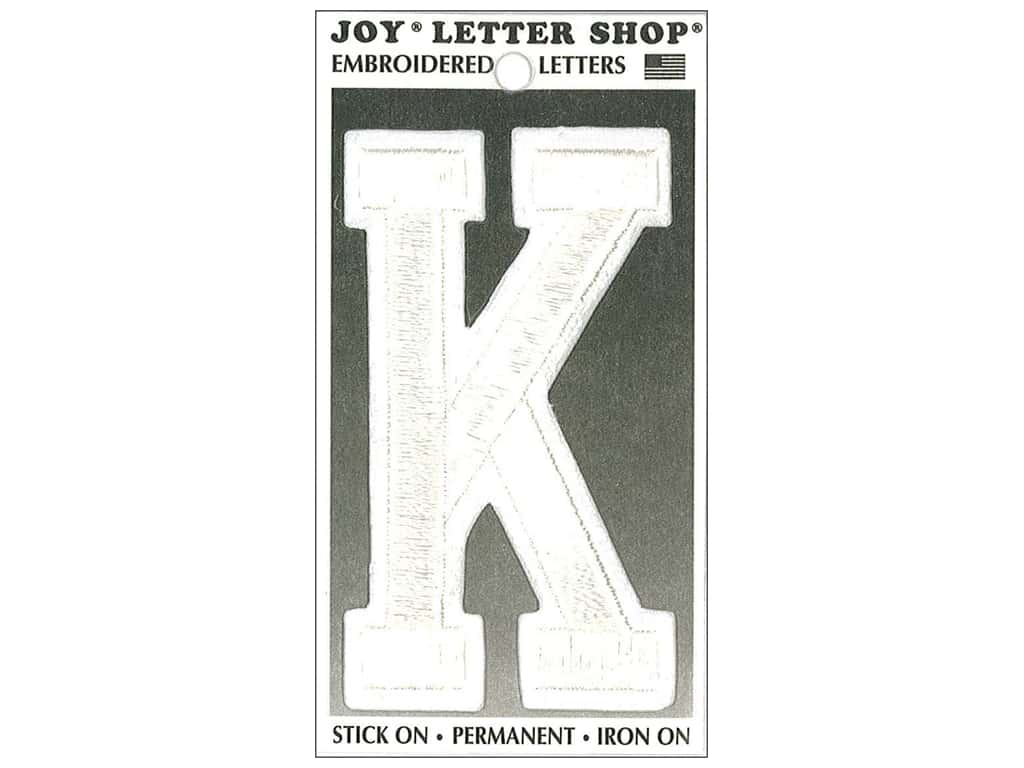 "Joy Lettershop Iron-On Embroidered Letter ""K"" 3 in. White"