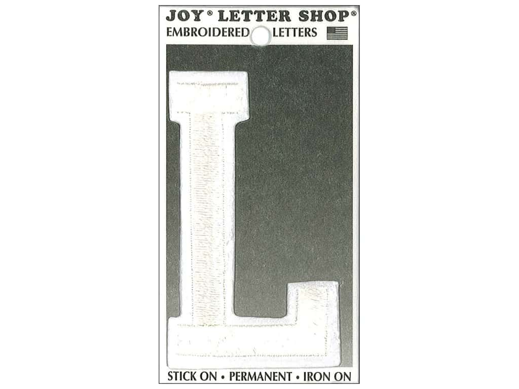 "Joy Lettershop Iron-On Embroidered Letter ""L"" 3 in. White"