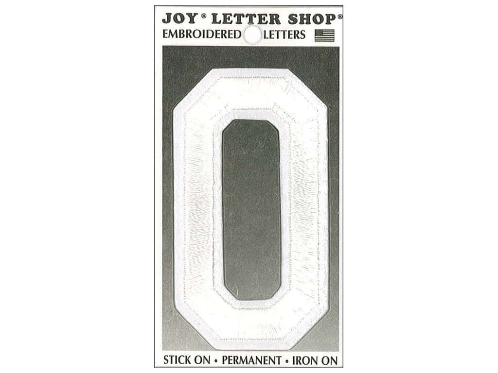 "Joy Lettershop Iron-On Embroidered Letter ""O"" 3 in. White"