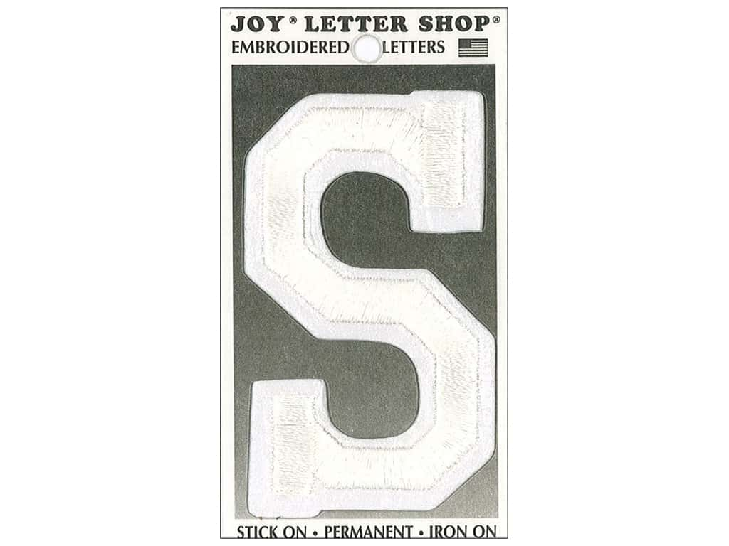 "Joy Lettershop Iron-On Embroidered Letter ""S"" 3 in. White"