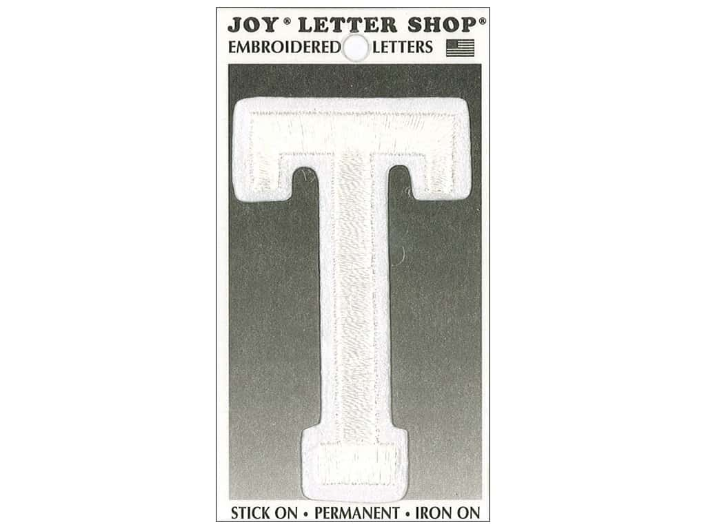 "Joy Lettershop Iron-On Embroidered Letter ""T"" 3 in. White"