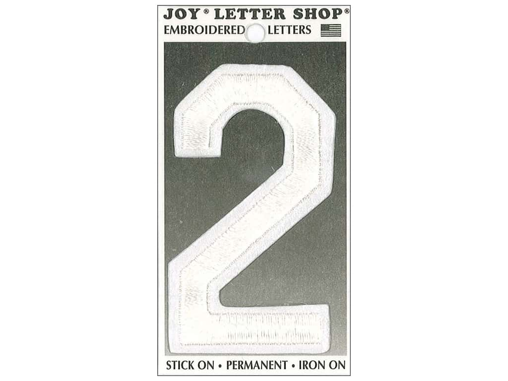 "Joy Lettershop Iron-On Embroidered Number ""2"" 3 in. White"