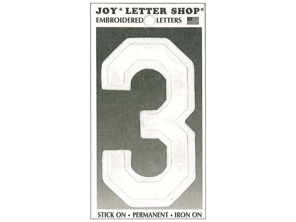 """Joy Lettershop Iron-On Embroidered Number """"3"""" 3 in. White"""