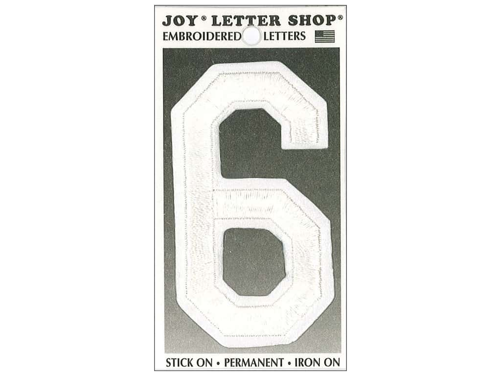 """Joy Lettershop Iron-On Embroidered Number """"6"""" 3 in. White"""