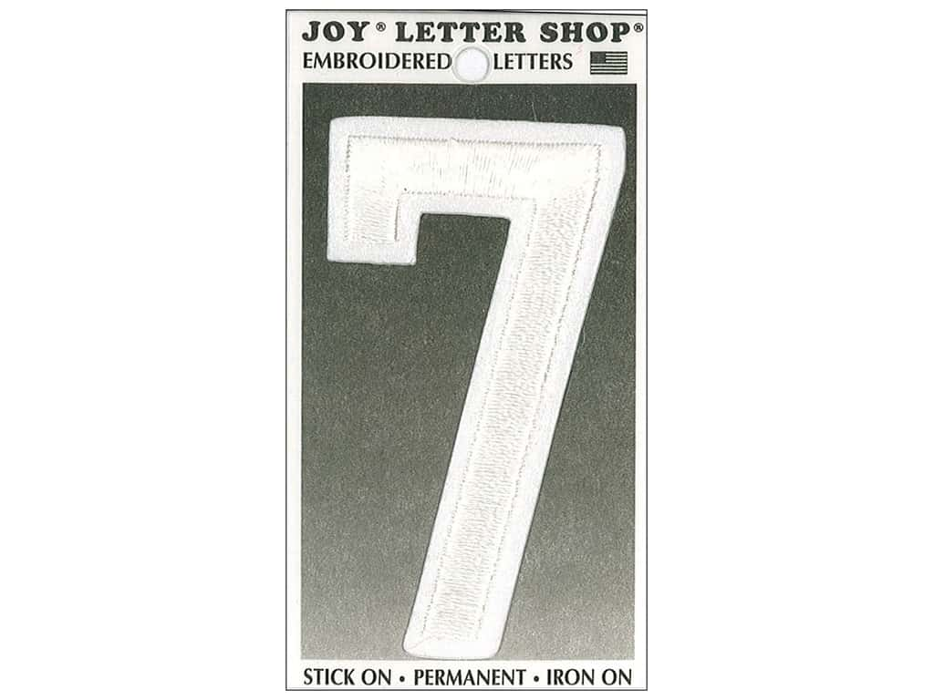 """Joy Lettershop Iron-On Embroidered Number """"7"""" 3 in. White"""