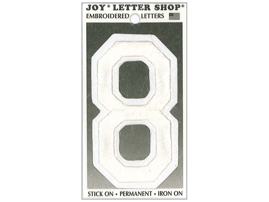 """Joy Lettershop Iron-On Embroidered Number """"8"""" 3 in. White"""