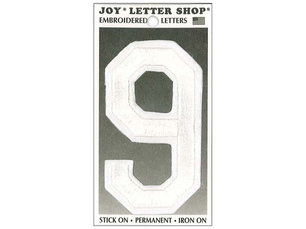 """Joy Lettershop Iron-On Embroidered Number """"9"""" 3 in. White"""