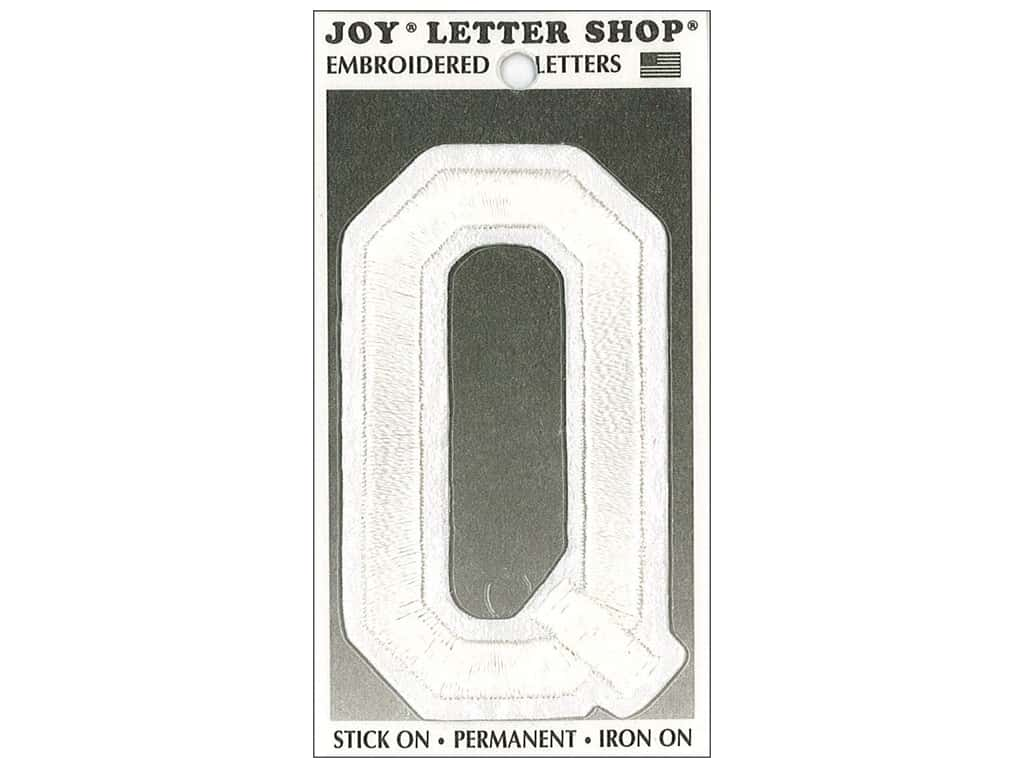 """Joy Lettershop Iron-On Embroidered Letter """"Q"""" 3 in. White"""