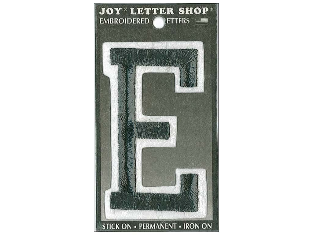 "Joy Lettershop Iron-On Embroidered Letter ""E"" 3 in. Black"