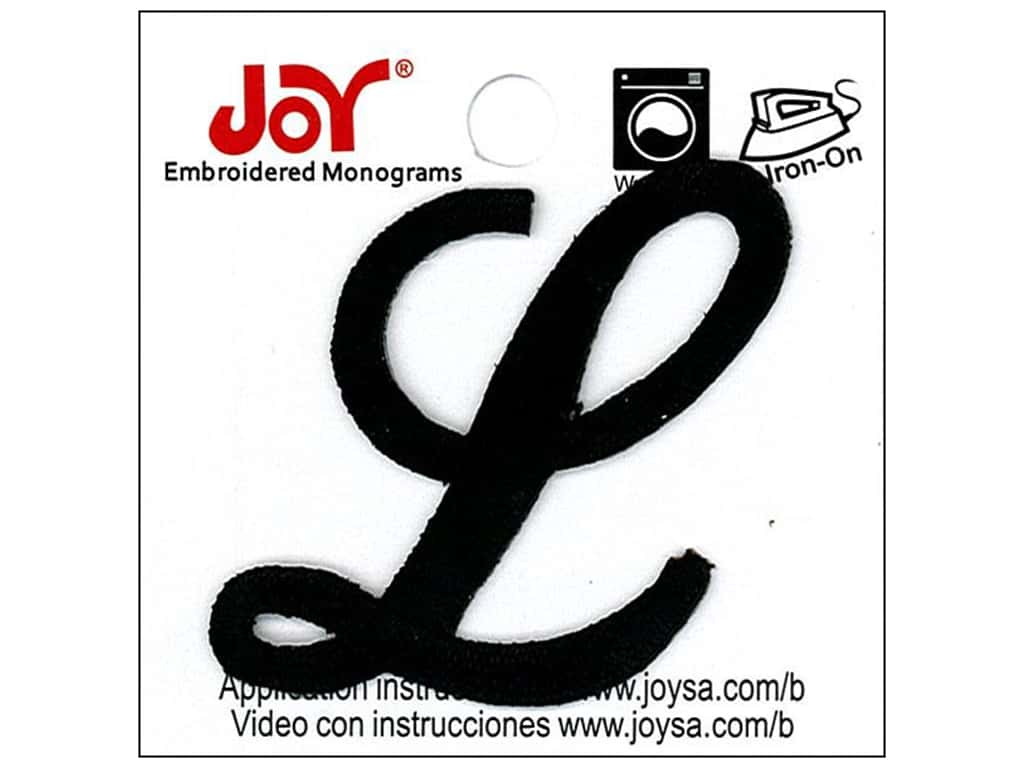 "Joy Lettershop Iron-On Embroidered Letter 1 1/2 in. Script ""L"" Black"