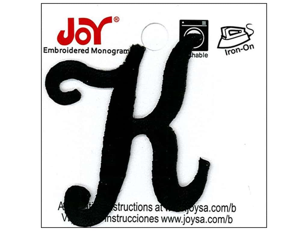 "Joy Lettershop Iron-On Embroidered Letter 1 1/2 in. Script ""K"" Black"