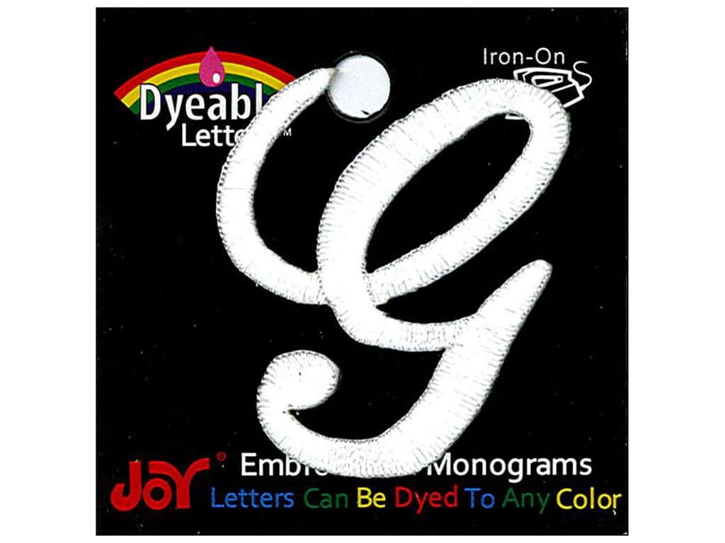 """Joy Lettershop Iron-On Embroidered Letter 1 1/2 in. Script """"G"""" Dyeable"""