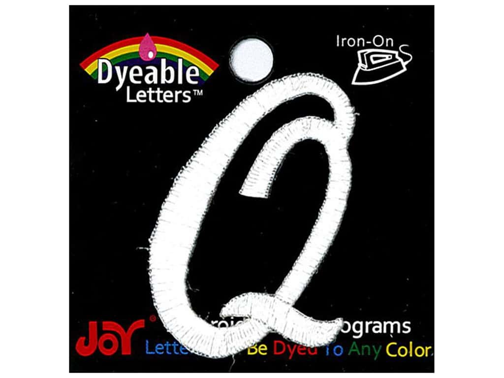 """Joy Lettershop Iron-On Embroidered Letter 1 1/2 in. Script """"Q"""" Dyeable"""