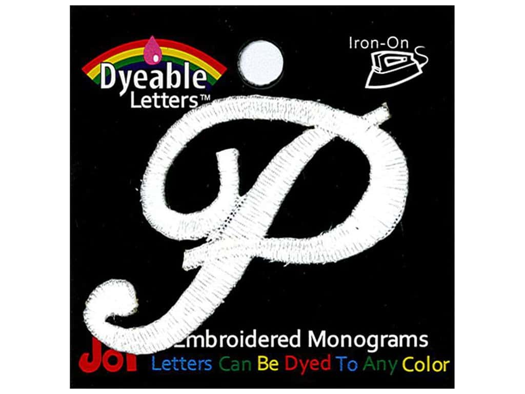 """Joy Lettershop Iron-On Embroidered Letter 1 1/2 in. Script """"P"""" Dyeable"""