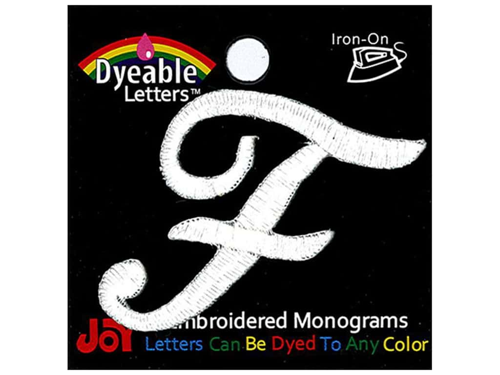 """Joy Lettershop Iron-On Embroidered Letter 1 1/2 in. Script """"F"""" Dyeable"""
