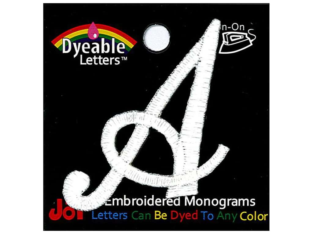 """Joy Lettershop Iron-On Embroidered Letter 1 1/2 in. Script """"A"""" Dyeable"""