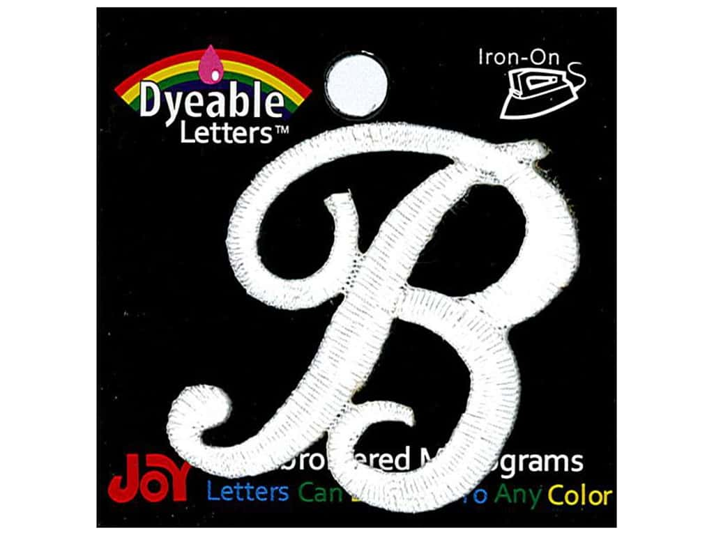 """Joy Lettershop Iron-On Embroidered Letter 1 1/2 in. Script """"B"""" Dyeable"""