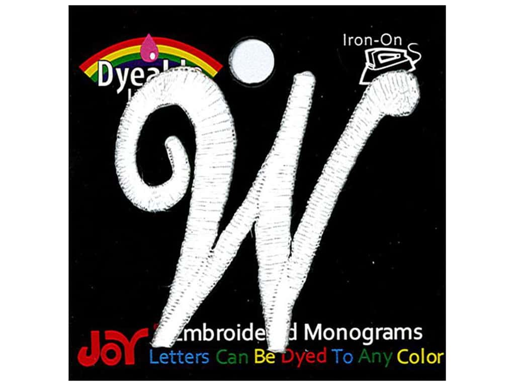 """Joy Lettershop Iron-On Embroidered Letter 1 1/2 in. Script """"W"""" Dyeable"""