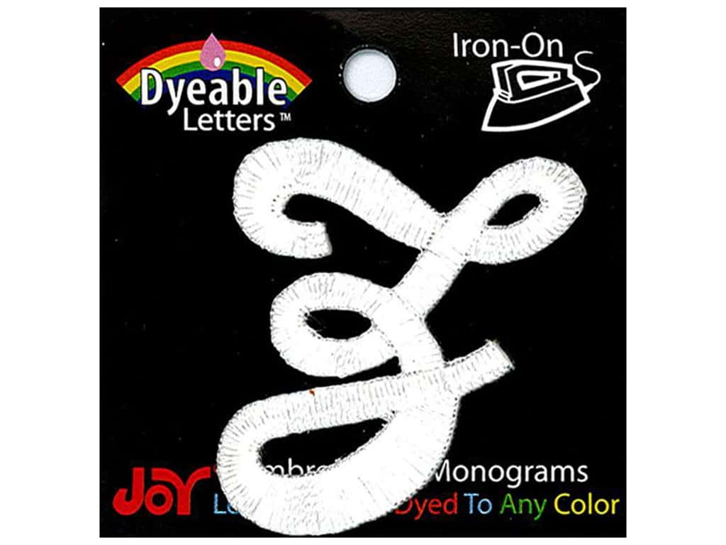 """Joy Lettershop Iron-On Embroidered Letter 1 1/2 in. Script """"Z"""" Dyeable"""