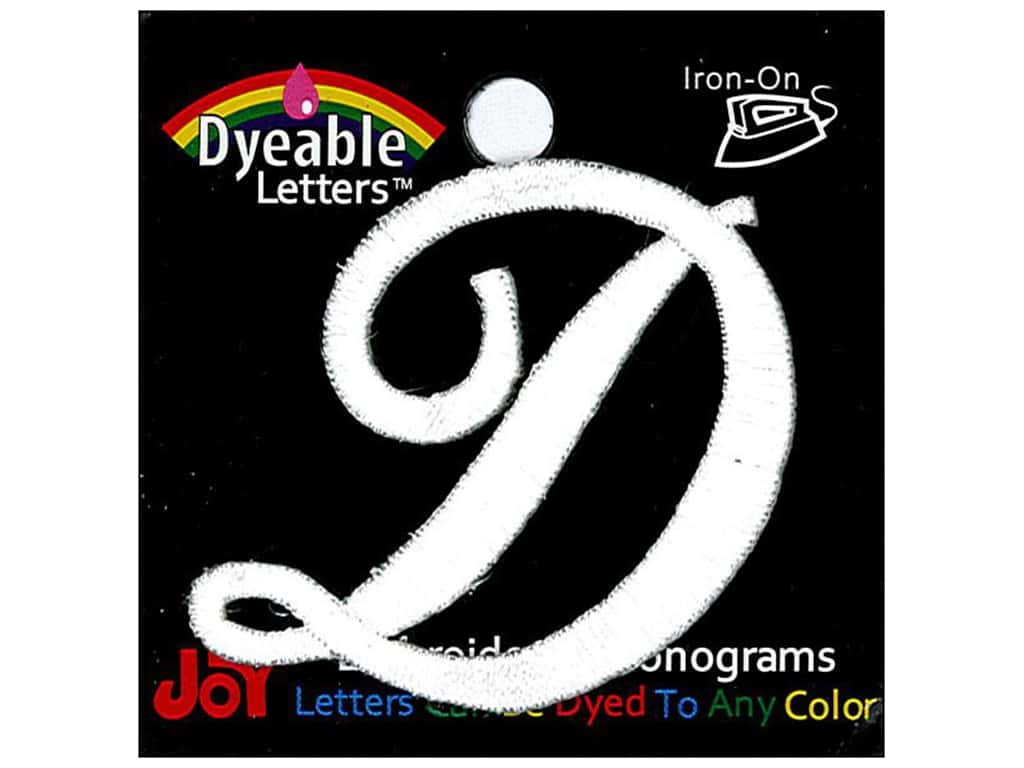 """Joy Lettershop Iron-On Embroidered Letter 1 1/2 in. Script """"D"""" Dyeable"""