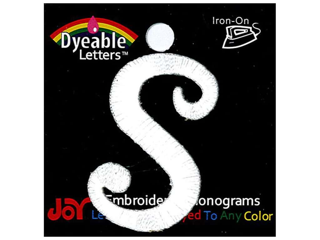 """Joy Lettershop Iron-On Embroidered Letter 1 1/2 in. Script """"S"""" Dyeable"""