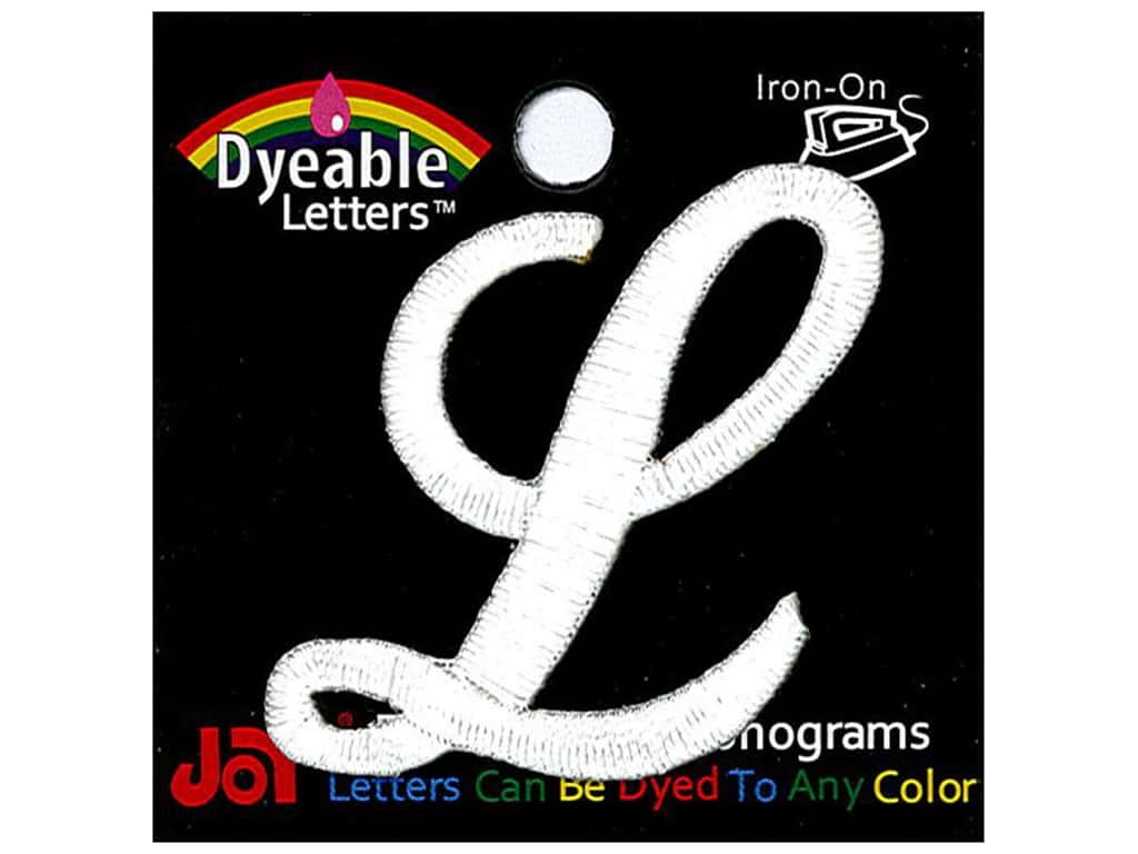 """Joy Lettershop Iron-On Embroidered Letter 1 1/2 in. Script """"L"""" Dyeable"""