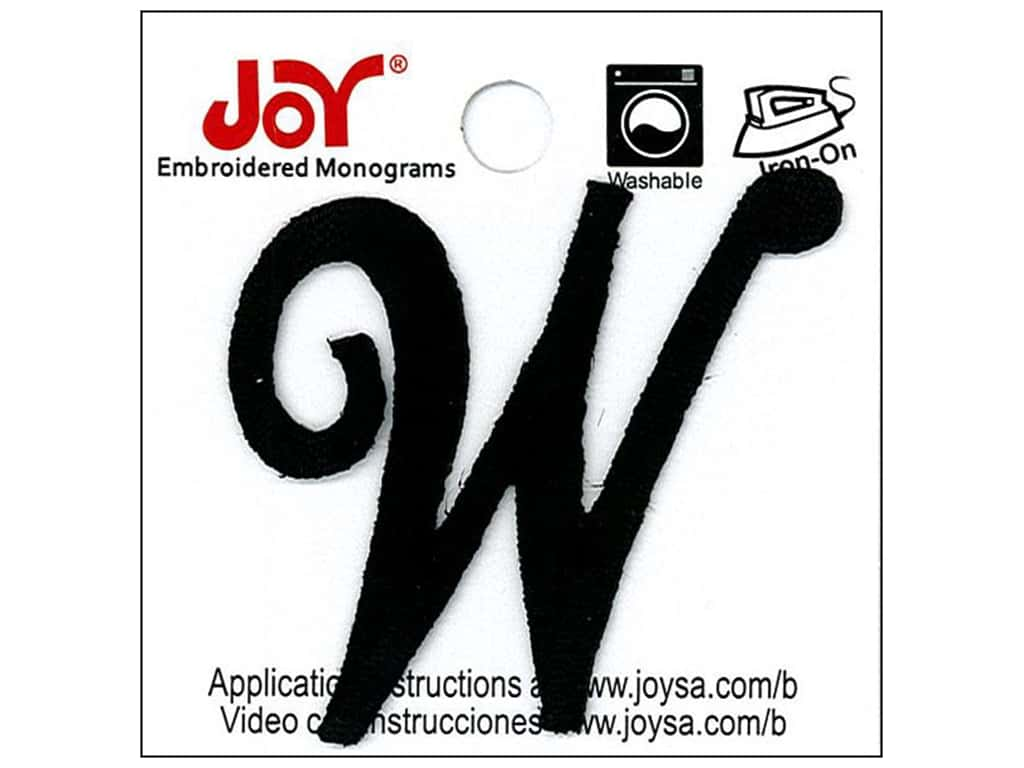 "Joy Lettershop Iron-On Embroidered Letter 1 1/2 in. Script ""W"" Black"