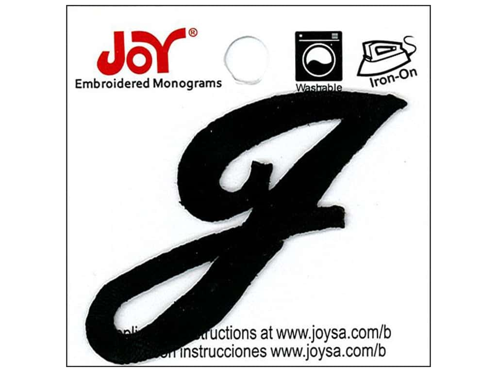 "Joy Lettershop Iron-On Embroidered Letter 1 1/2 in. Script ""J"" Black"