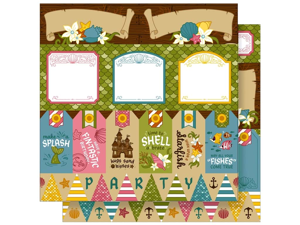 Imaginisce 12 x 12 in. Paper Party Me Hearty Shell A Brate (25 sheets)