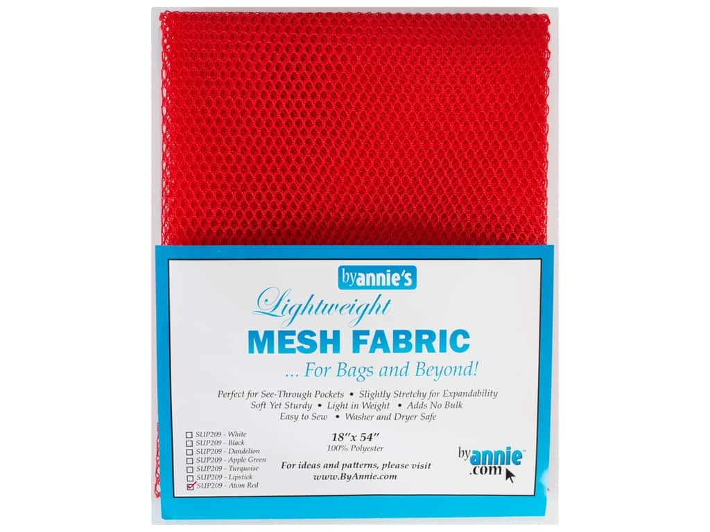 By Annie Lightweight Mesh Fabric 18 x 54 in. Atom Red