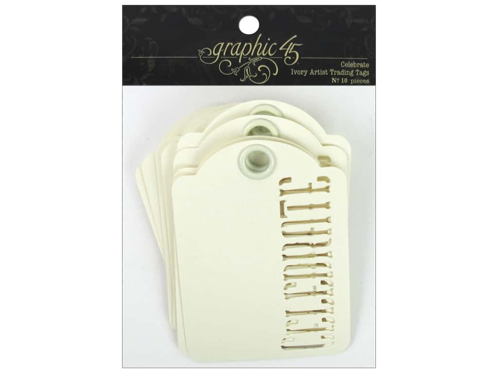 Graphic 45 Staples Tags - ATC Celebrate Ivory