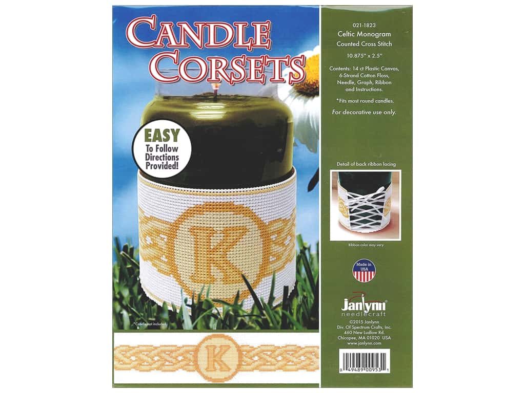 Janlynn Cross Stitch Kit Candle Corset Celtic Monogram