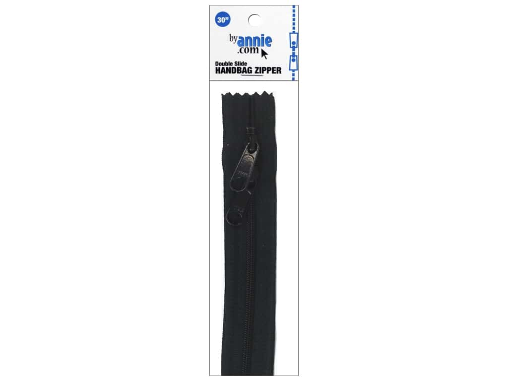 By Annie Handbag Zippers Double Slide 30 in. Black