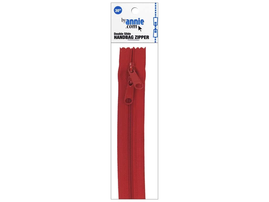 By Annie Handbag Zippers Double Slide 30 in. Atom Red