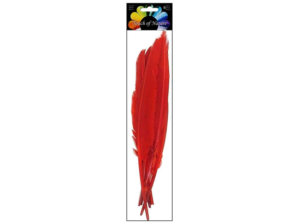 Midwest Design Indian Feather 6 pc. 10 - 12 in. Red