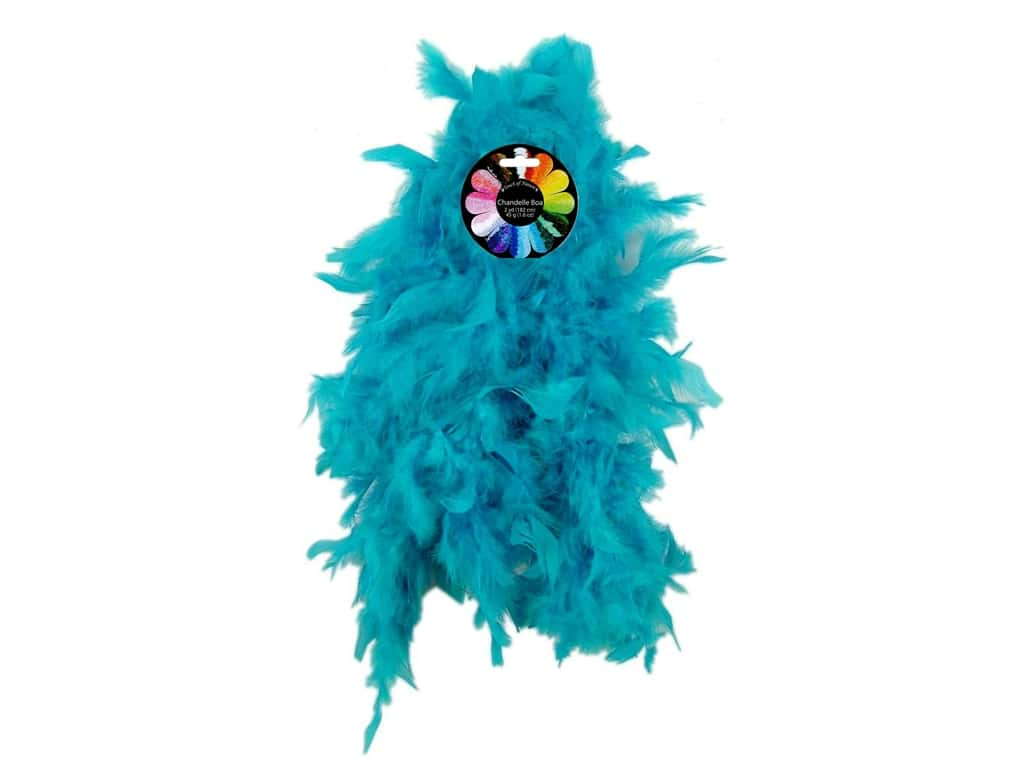 Midwest Design Turkey Flat Chandelle Feather Boa 2 yd. Turquoise