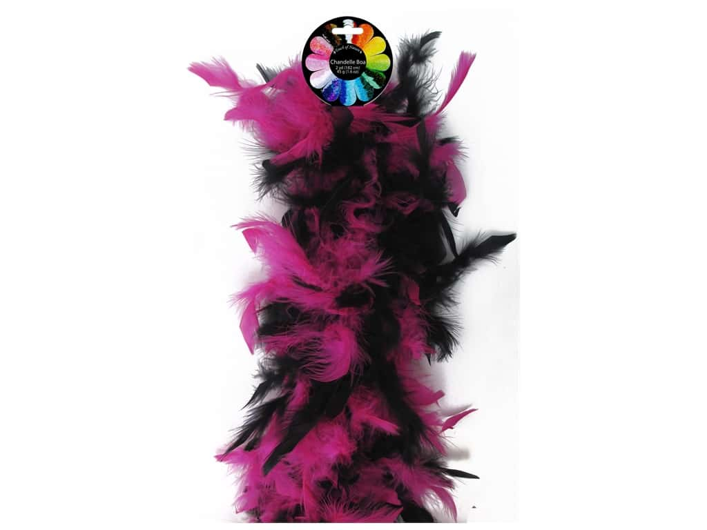 Midwest Design Turkey Flat Chandelle Feather Boa 2 yd. Pink & Black