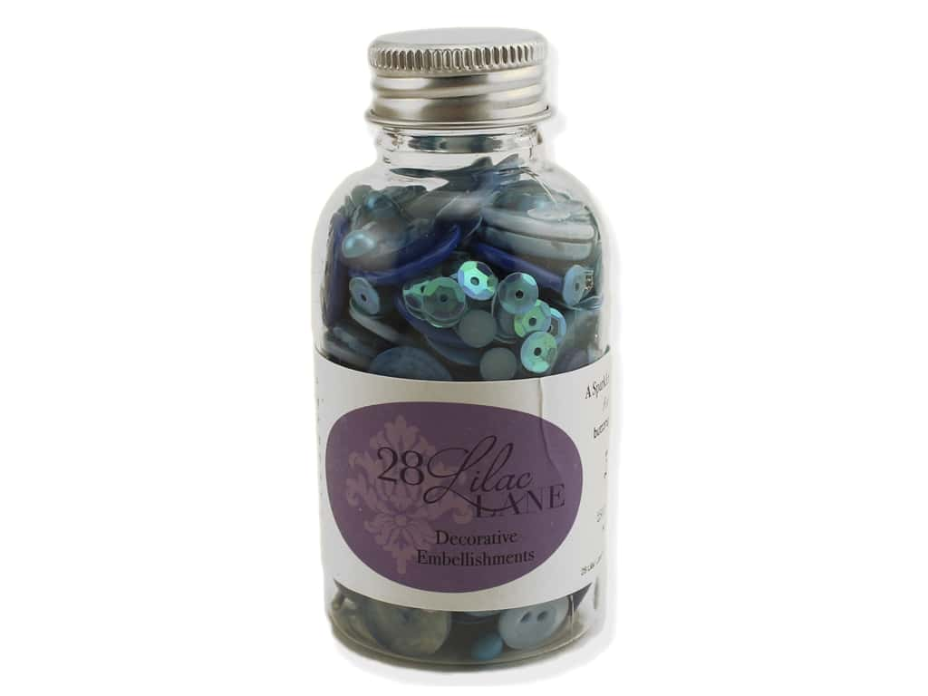Buttons Galore 28 Lilac Lane Embellishment Bottle Winter Blues