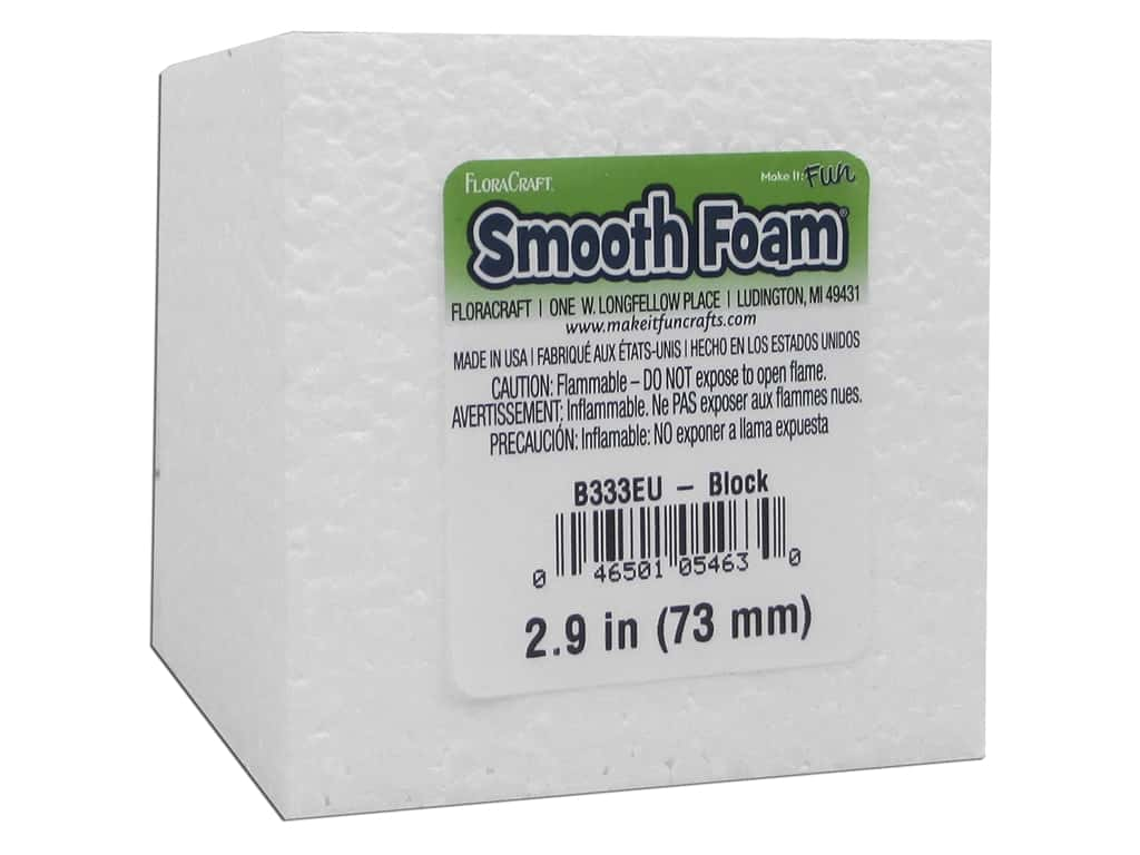 FloraCraft Smooth Foam Block 3 x 3 x 3 in.