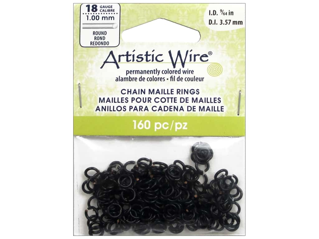 Artistic Wire Chain Maille Jump Rings 18 ga. 9/64 in. Black 160 pc.