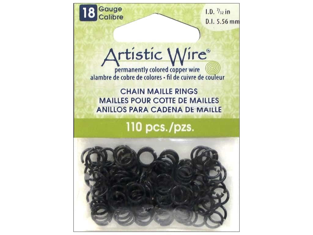 Artistic Wire Chain Maille Jump Rings 18 ga. 7/32 in. Black 110 pc.