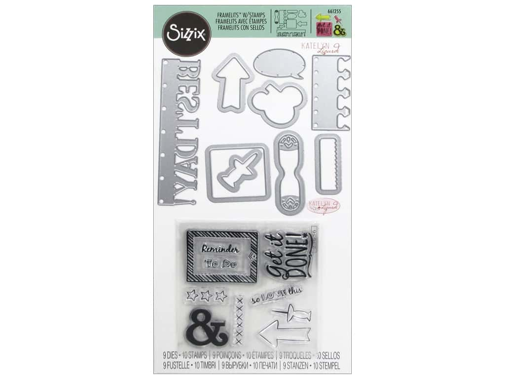Sizzix Katelyn Lizardi Framelits Die & Stamp Set Get it Done