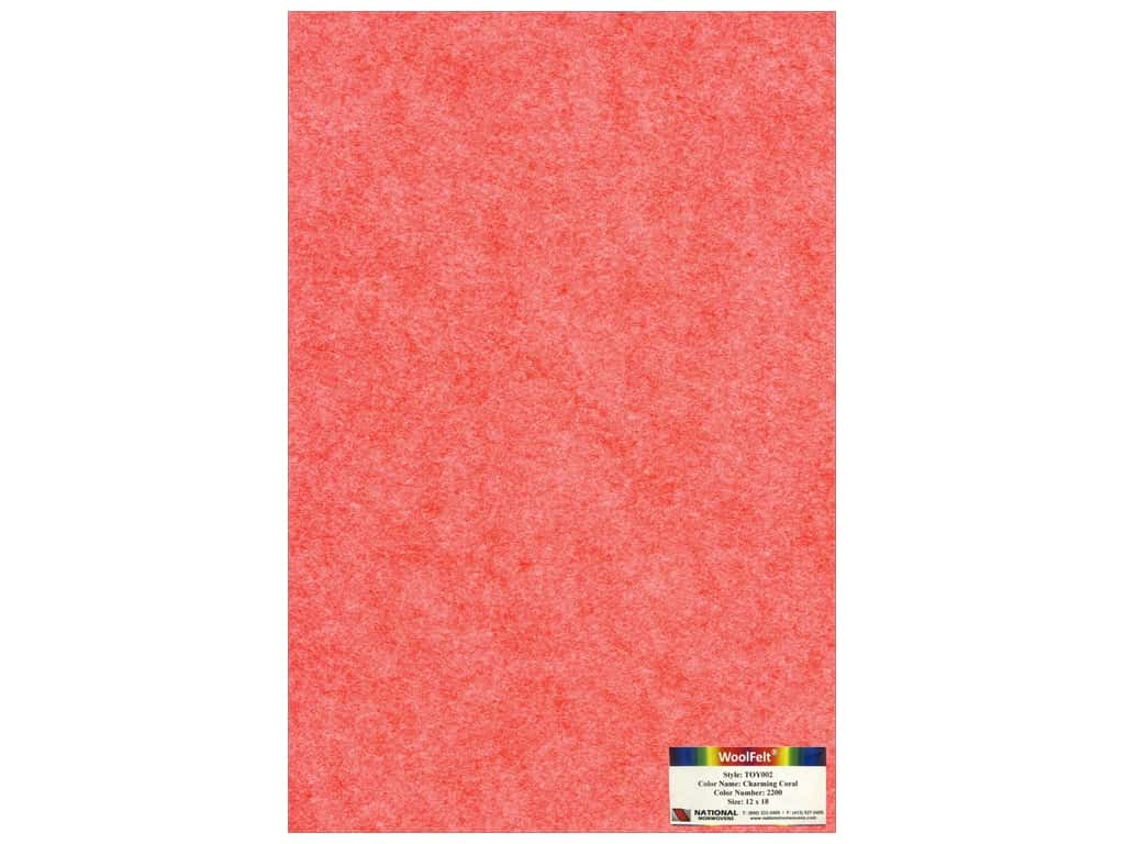 National Nonwovens 35% Wool Felt 12 x 18 in. Charming Coral (10 sheets)
