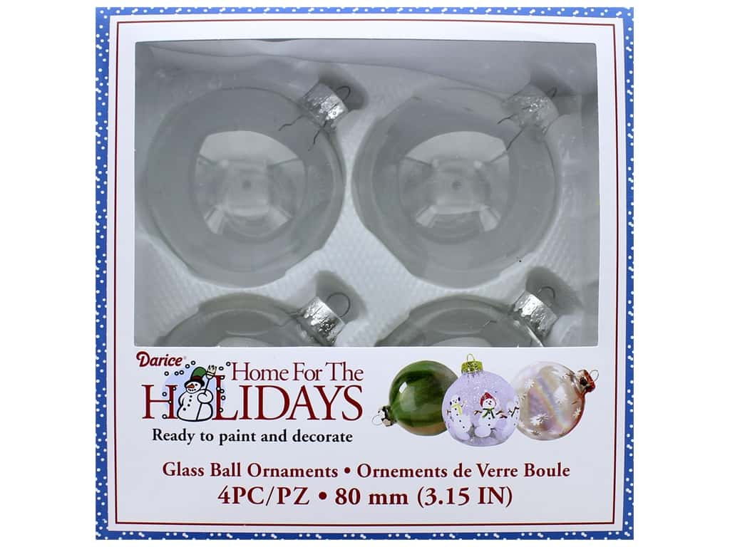 Darice Glass Ball Ornaments 3 1/8 in. 4 pc.