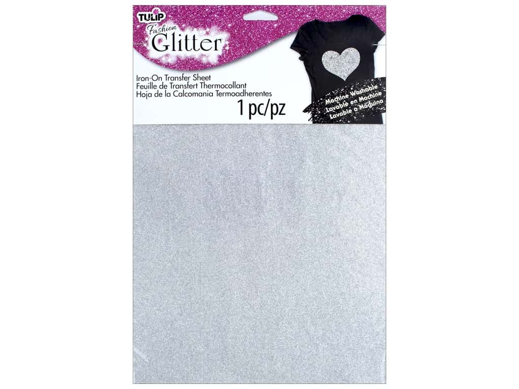Tulip Iron On Glitter Transfer Sheet 8 1/2 x 11 in. Silver